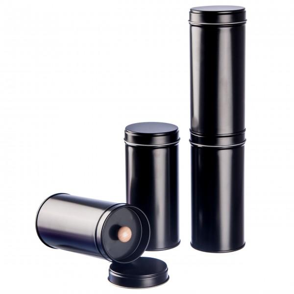 6er Pack der schwarzen Teedosen mit extra Aromadeckel inkl. 6 Etiketten