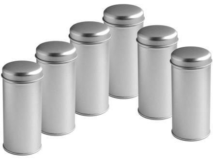 6er Pack Schlanke Gewürz-Dosen mit zusätzlichem Streueinsatz